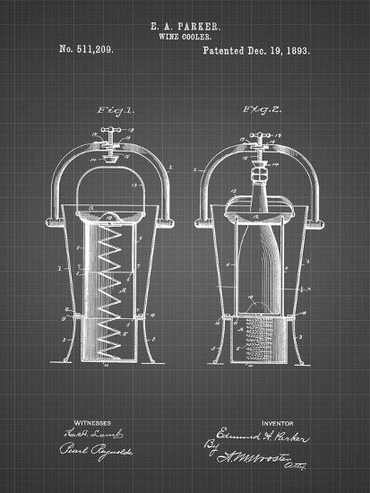 PP1138-Black Grid Wine Cooler 1893 Patent Poster-Cole Borders-Giclee Print