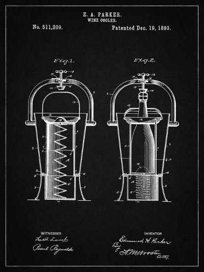 PP1138-Vintage Black Wine Cooler 1893 Patent Poster-Cole Borders-Giclee Print