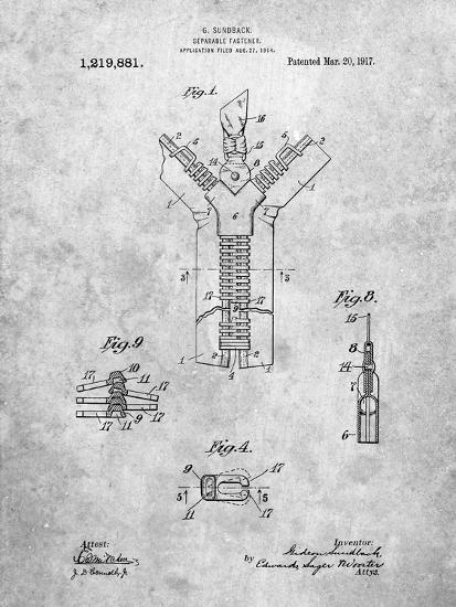 PP1143-Slate Zipper 1917 Patent Poster-Cole Borders-Giclee Print