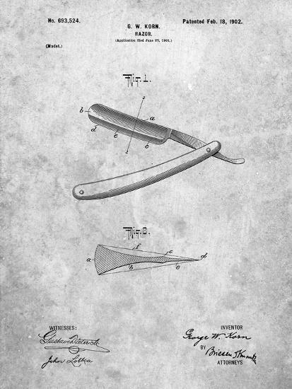 PP1178-Slate Straight Razor Patent Poster-Cole Borders-Giclee Print