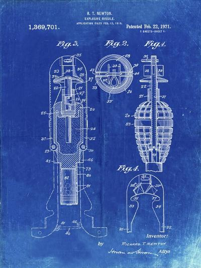PP12 Faded Blueprint-Borders Cole-Giclee Print