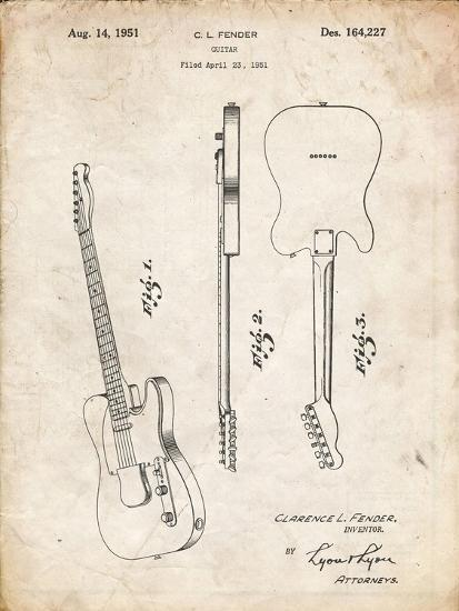 PP121- Vintage Parchment Fender Broadcaster Electric Guitar Patent Poster-Cole Borders-Giclee Print