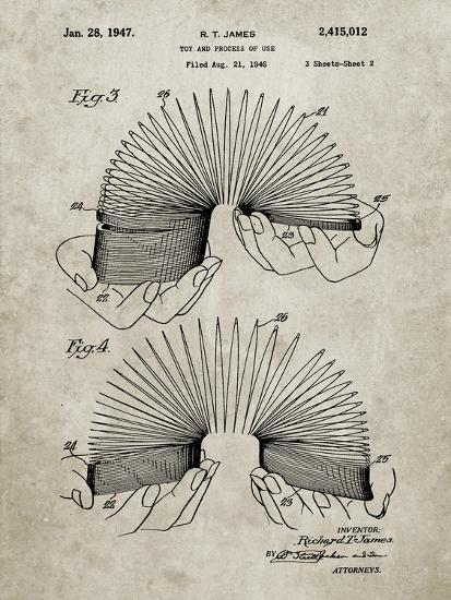 PP125- Sandstone Slinky Toy Patent Poster-Cole Borders-Giclee Print