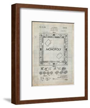 PP131- Antique Grid Parchment Monopoly Patent Poster-Cole Borders-Framed Giclee Print