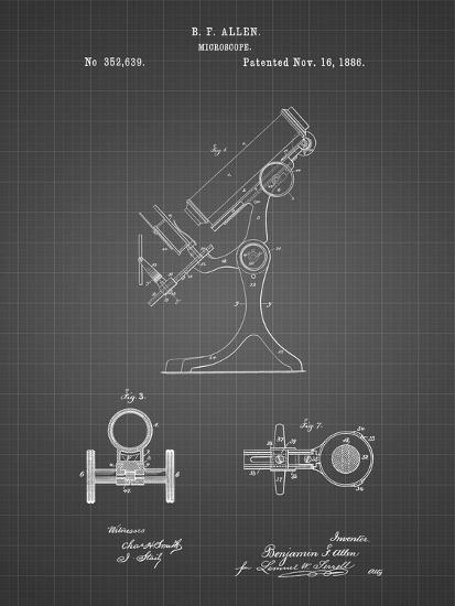 PP132- Black Grid Antique Microscope Patent Poster-Cole Borders-Giclee Print