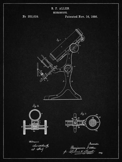 PP132- Vintage Black Antique Microscope Patent Poster-Cole Borders-Giclee Print
