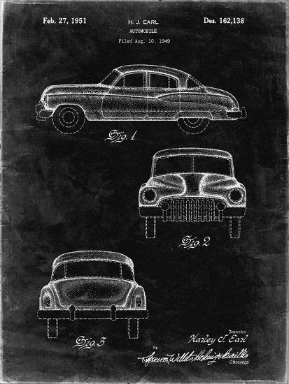 PP134- Black Grunge Buick Super 1949 Car Patent Poster-Cole Borders-Giclee Print