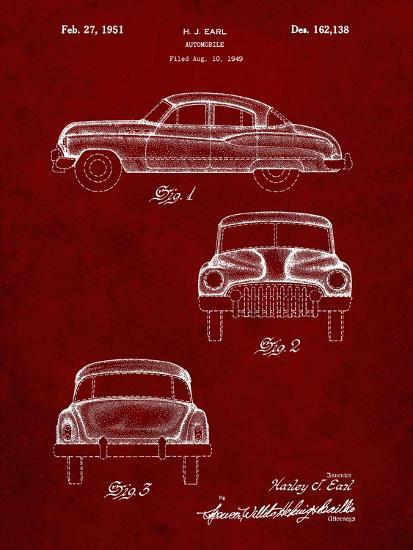 PP134- Burgundy Buick Super 1949 Car Patent Poster-Cole Borders-Giclee Print
