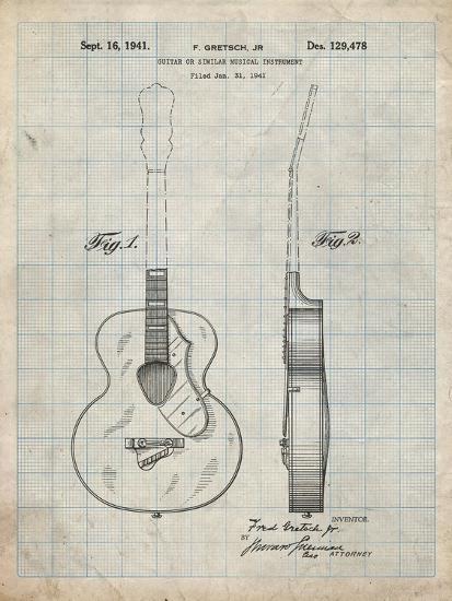 PP138- Antique Grid Parchment Gretsch 6022 Rancher Guitar Patent Poster-Cole Borders-Giclee Print