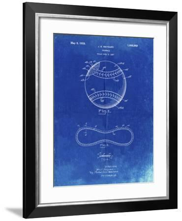 PP143- Faded Blueprint Baseball Stitching Patent-Cole Borders-Framed Giclee Print