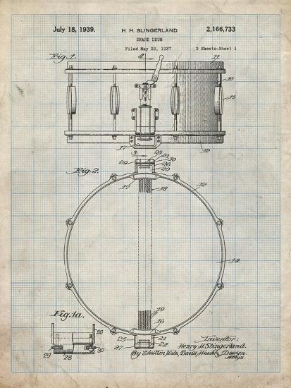 PP147- Antique Grid Parchment Slingerland Snare Drum Patent Poster-Cole Borders-Giclee Print