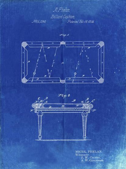 PP149- Faded Blueprint Pool Table Patent Poster-Cole Borders-Giclee Print