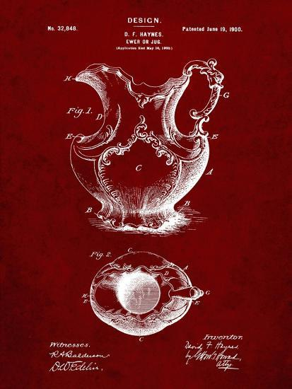 PP151- Burgundy Antique Haynes Washing Pitcher-Cole Borders-Giclee Print