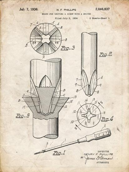 PP153- Vintage Parchment Phillips Head Screw Driver Patent Poster-Cole Borders-Giclee Print