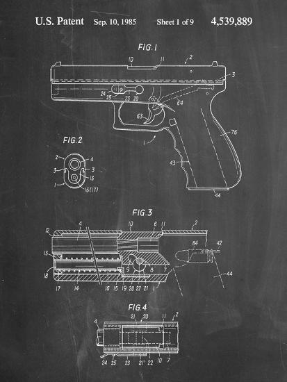 PP154- Chalkboard Handgun Pistol Patent Poster-Cole Borders-Giclee Print