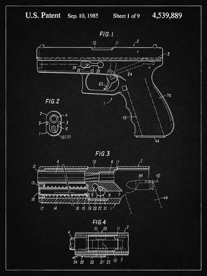 PP154- Vintage Black Handgun Pistol Patent Poster-Cole Borders-Giclee Print