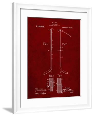 PP157- Burgundy Hockey Stick 1915 Poster-Cole Borders-Framed Giclee Print