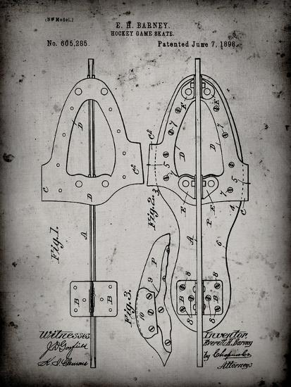 PP158- Faded Grey 1898 Hockey Skate Patent Poster-Cole Borders-Giclee Print