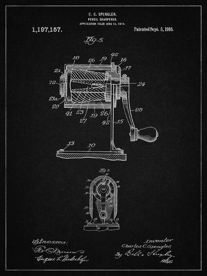 PP162- Vintage Black Pencil Sharpener Patent Poster-Cole Borders-Giclee Print