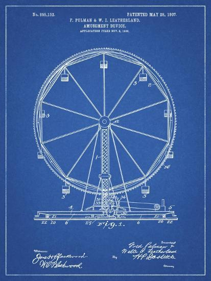 PP167- Blueprint Ferris Wheel Poster-Cole Borders-Giclee Print
