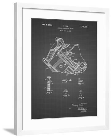 PP172- Black Grid Ford V-8 Combustion Engine 1934 Patent Poster-Cole Borders-Framed Giclee Print