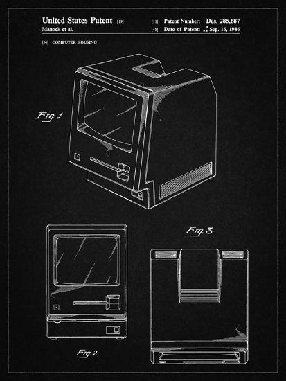 PP176- Vintage Black First Macintosh Computer Poster-Cole Borders-Giclee Print