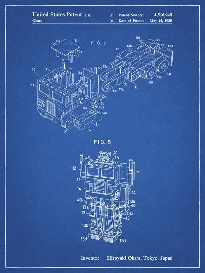 PP179- Blueprint Optimus Prime Transformer Poster-Cole Borders-Giclee Print