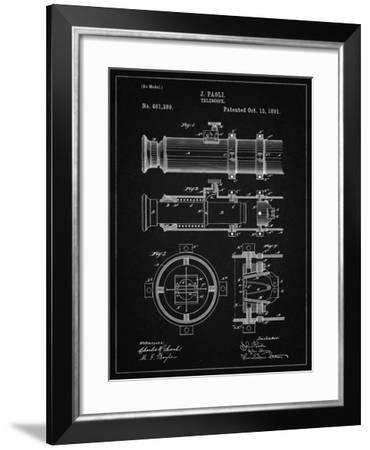 PP180- Vintage Black Antique Telescope 1891 Patent Poster-Cole Borders-Framed Giclee Print
