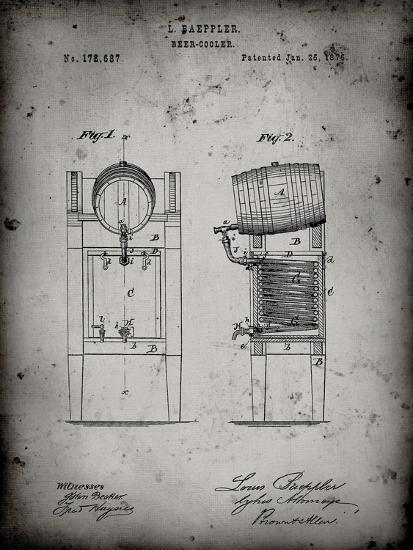 PP186- Faded Grey Beer Keg Cooler 1876 Patent Poster-Cole Borders-Giclee Print