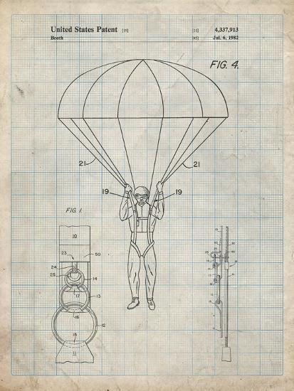 PP187- Antique Grid Parchment Parachute 1982 Patent Poster-Cole Borders-Giclee Print
