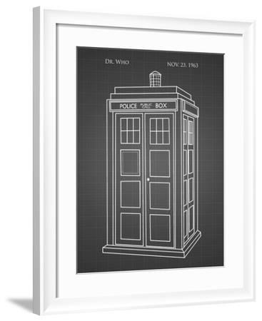 PP189- Black Grid Doctor Who Tardis Poster-Cole Borders-Framed Giclee Print
