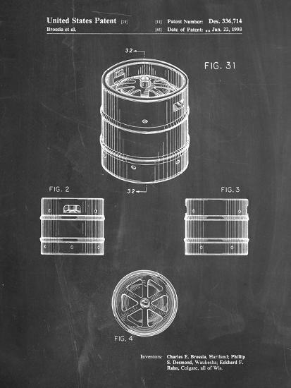 PP193- Chalkboard Miller Beer Keg Patent Poster-Cole Borders-Giclee Print