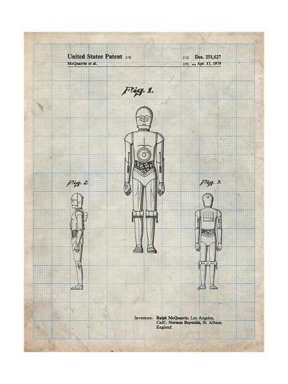 PP195- Antique Grid Parchment Star Wars C-3PO Patent Poster-Cole Borders-Giclee Print