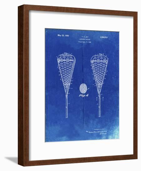 PP199- Faded Blueprint Lacrosse Stick 1948 Patent Poster-Cole Borders-Framed Giclee Print