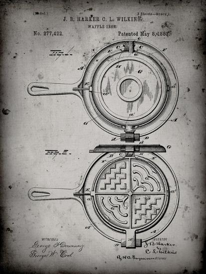 PP209-Faded Grey Waffle Iron Patent Poster-Cole Borders-Giclee Print