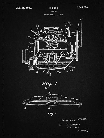 PP220-Vintage Black Model A Ford Pickup Truck Engine Poster-Cole Borders-Giclee Print