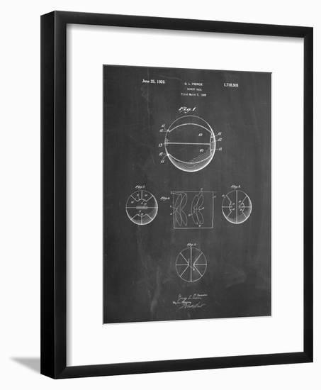 PP222-Chalkboard Basketball 1929 Game Ball Patent Poster-Cole Borders-Framed Giclee Print