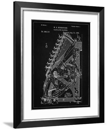 PP226-Vintage Black Burroughs Adding Machine Patent Poster-Cole Borders-Framed Giclee Print