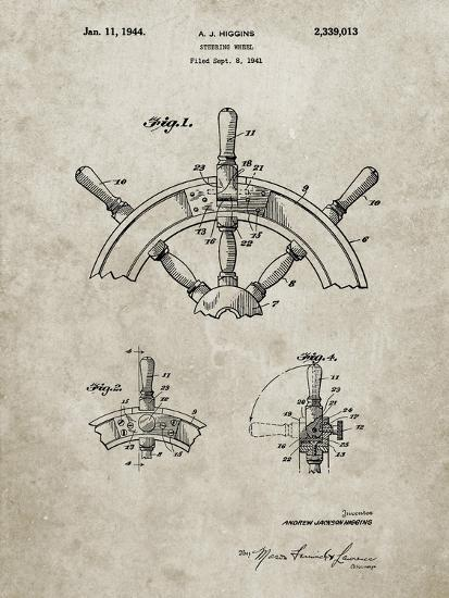 PP228-Sandstone Ship Steering Wheel Patent Poster-Cole Borders-Giclee Print