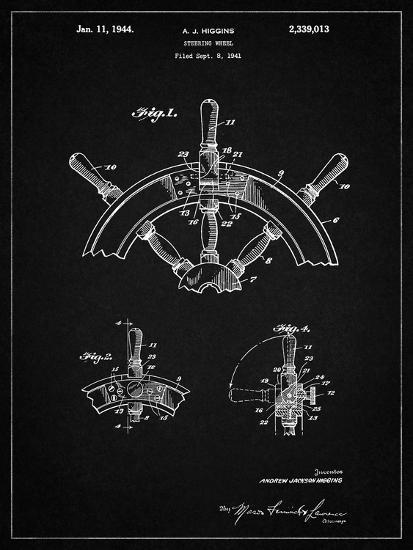 PP228-Vintage Black Ship Steering Wheel Patent Poster-Cole Borders-Giclee Print