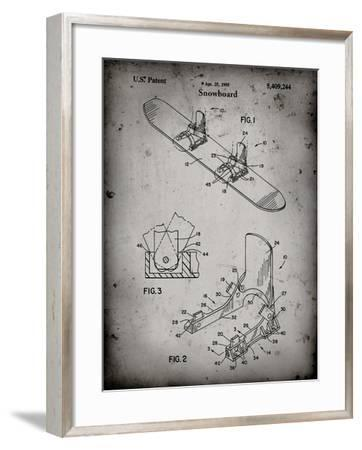 PP246-Faded Grey Burton Baseless Binding 1995 Snowboard Patent Poster-Cole Borders-Framed Giclee Print