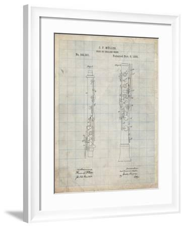PP247-Antique Grid Parchment Oboe Patent Poster-Cole Borders-Framed Giclee Print