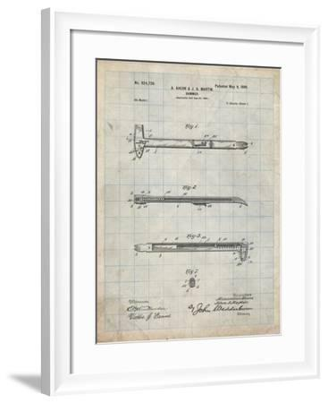 PP255-Antique Grid Parchment Dispensing Hammer Patent Poster-Cole Borders-Framed Giclee Print