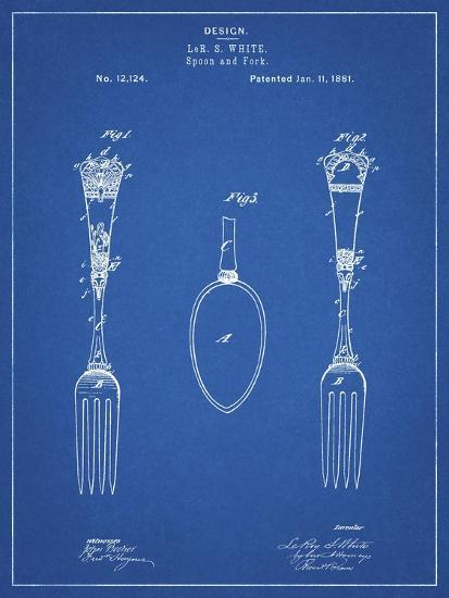 PP258-Blueprint Antique Spoon and Fork Patent Poster-Cole Borders-Giclee Print