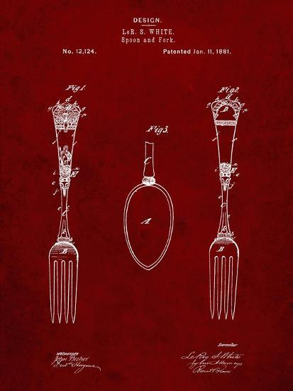 PP258-Burgundy Antique Spoon and Fork Patent Poster-Cole Borders-Giclee Print