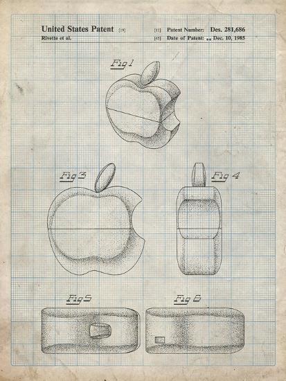 PP260-Antique Grid Parchment Apple Logo Flip Phone Patent Poster-Cole Borders-Giclee Print