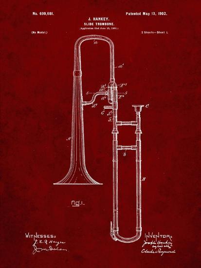PP261-Burgundy Slide Trombone Patent Poster-Cole Borders-Giclee Print