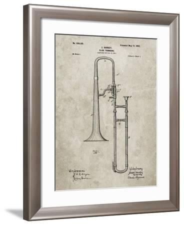PP261-Sandstone Slide Trombone Patent Poster-Cole Borders-Framed Giclee Print