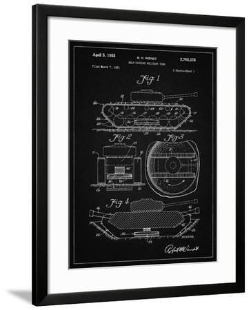 PP262-Vintage Black Military Self Digging Tank Patent Poster-Cole Borders-Framed Giclee Print