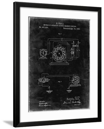 PP264-Black Grunge Tesla Operating Electric Motors Map Poster-Cole Borders-Framed Giclee Print